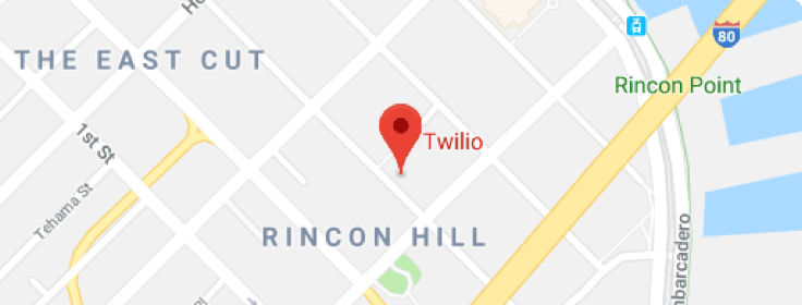 Map indicating Twilio Worldwide Headquarters in San Francisco, California